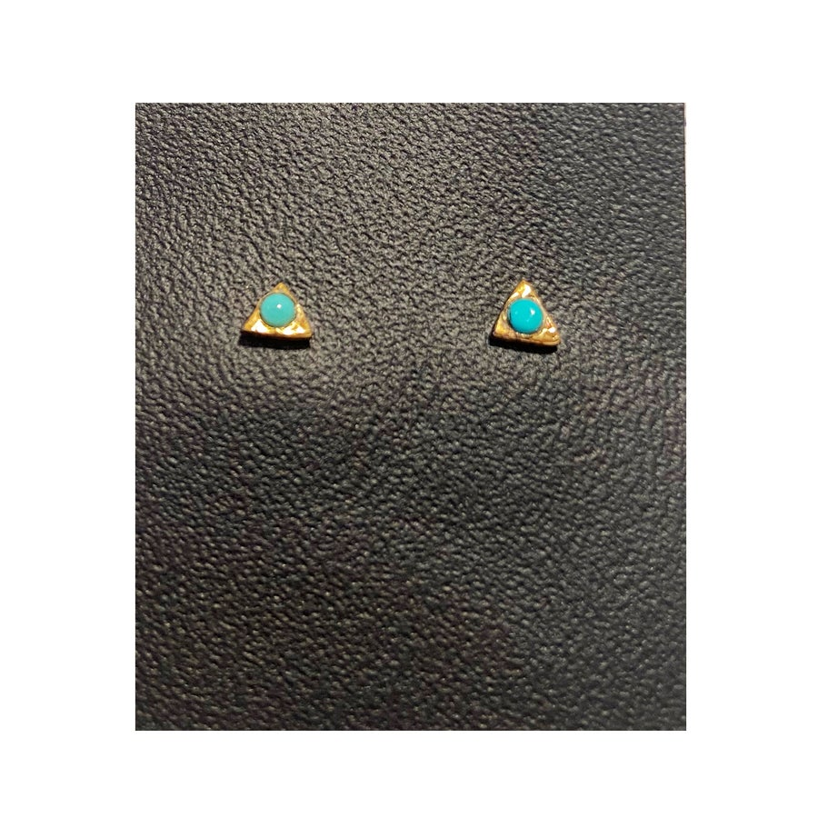 Image of Gold Filled Charm Triangle with Turquoise Studs
