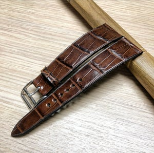 Image of Semi-glazed Brown Alligator classic watch strap