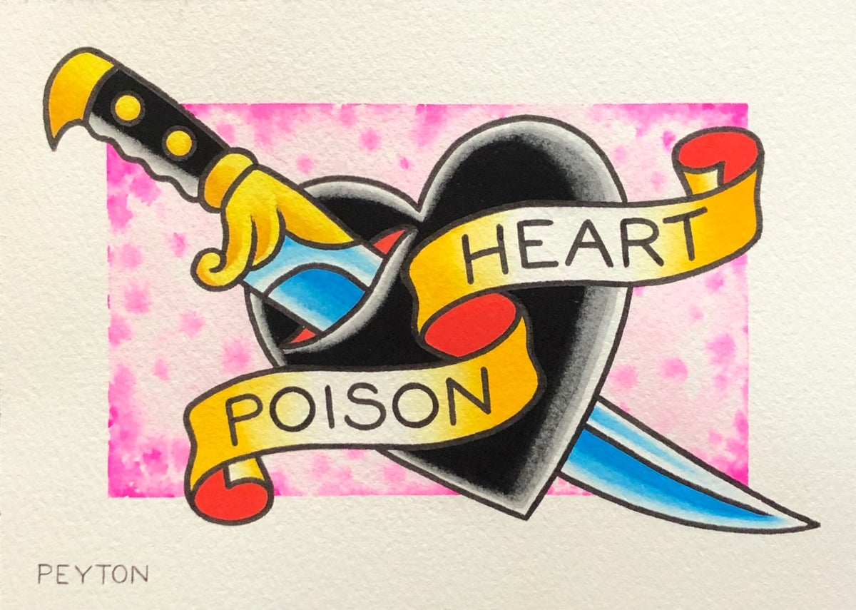 Poison Heart painting 5x7""
