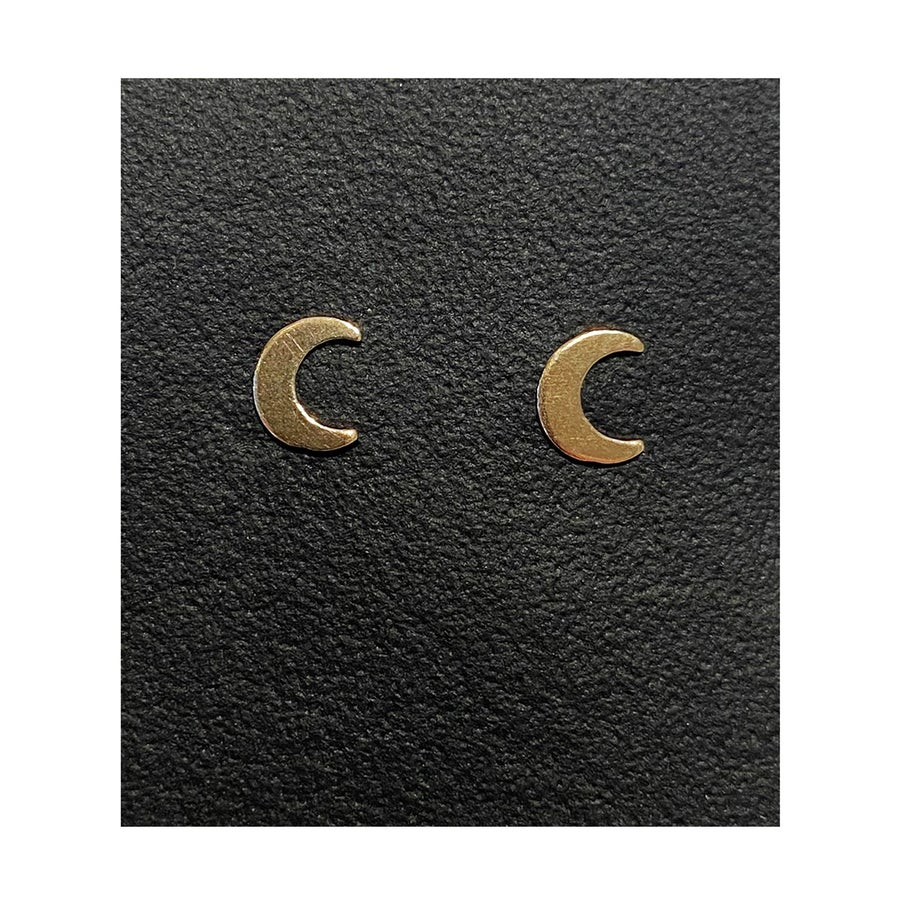 Image of Gold Filled Charm Crescent Moon Studs