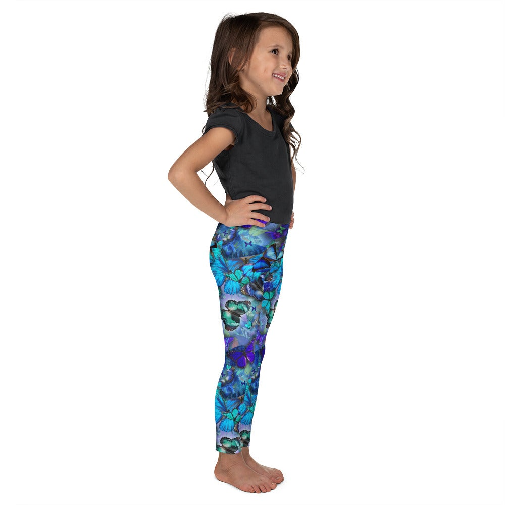Image of Kid's Blue Butterfly Leggings