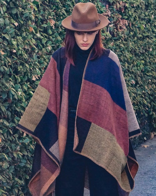Image of color-block poncho.