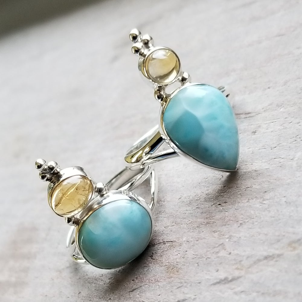 Image of Lady Jane Ring - Larimar & Citrine in Sterling