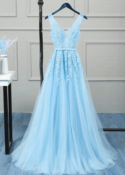 Lovely High Quality Blue Tulle Prom Dress, Long Evening Gowns