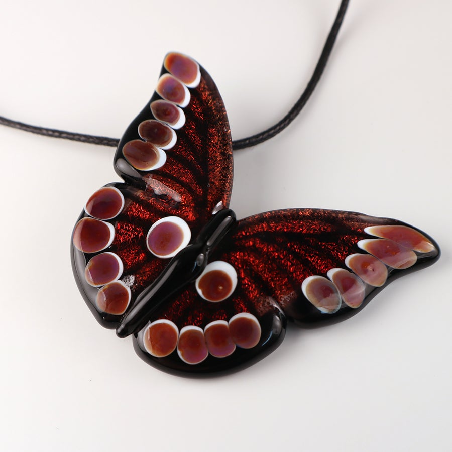 Red Dichroic Borosilicate Glass Butterfly
