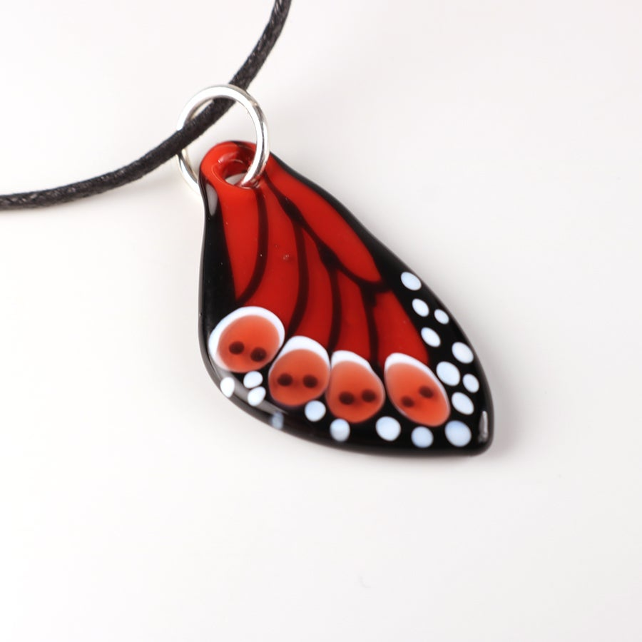 Vibrant Red Glass Butterfly Wing Pendant