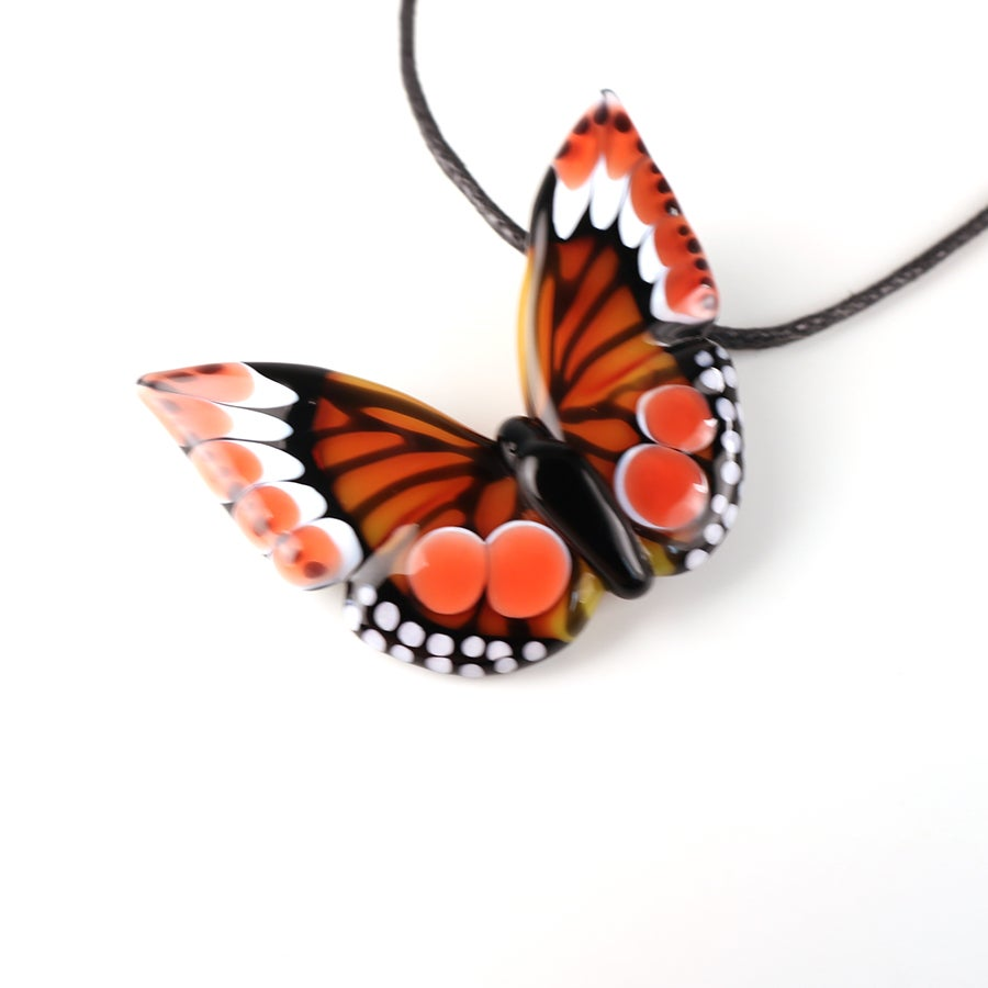 Orange & Red Borosilicate Butterfly Pendant