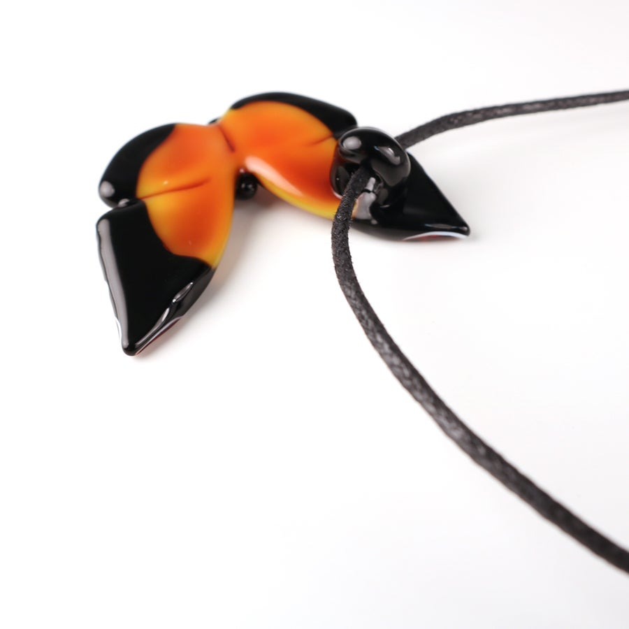 Orange & Red Borosilicate Butterfly Pendant