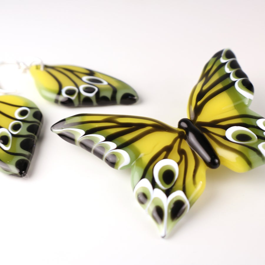 Spring Yellow and Green Borosilicate Glass Butterfly Pendant