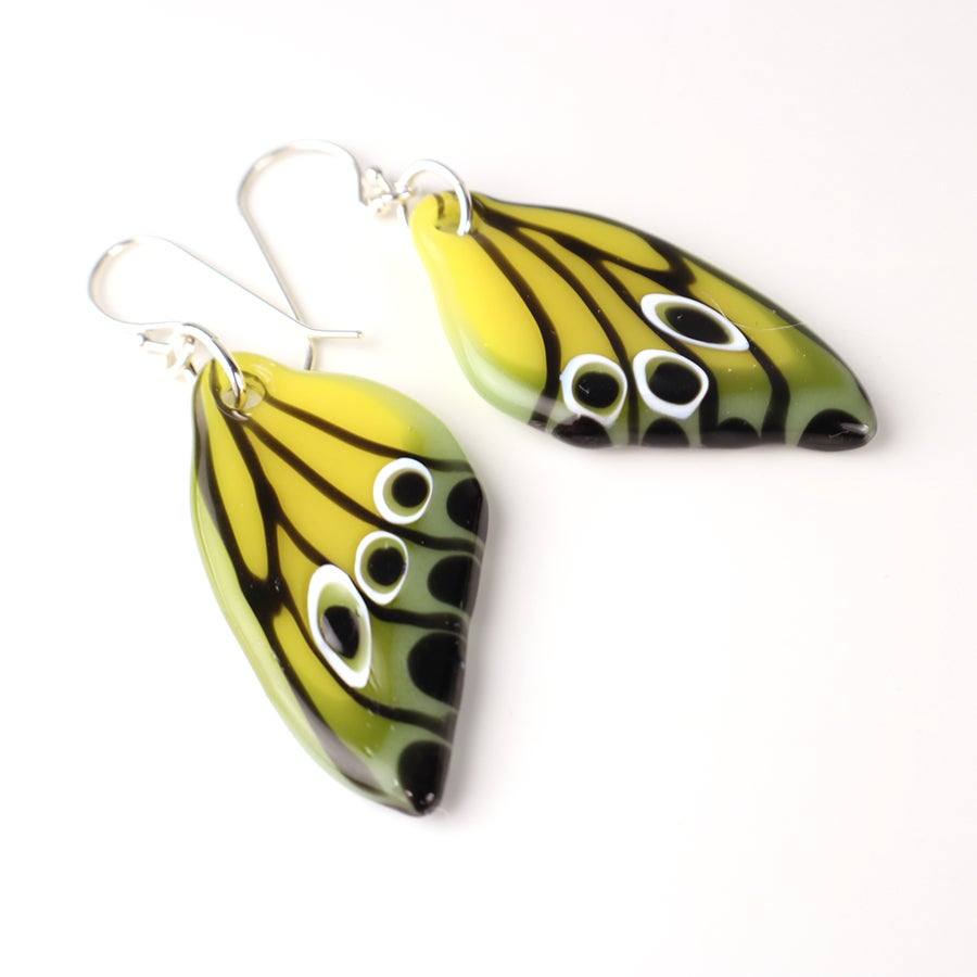 Spring Yellow and Green Butterfly Wing Earrings