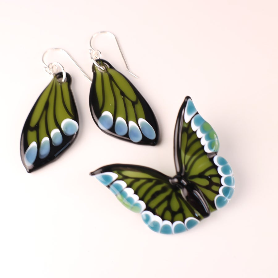 Green & Teal Glass Butterfly Pendant