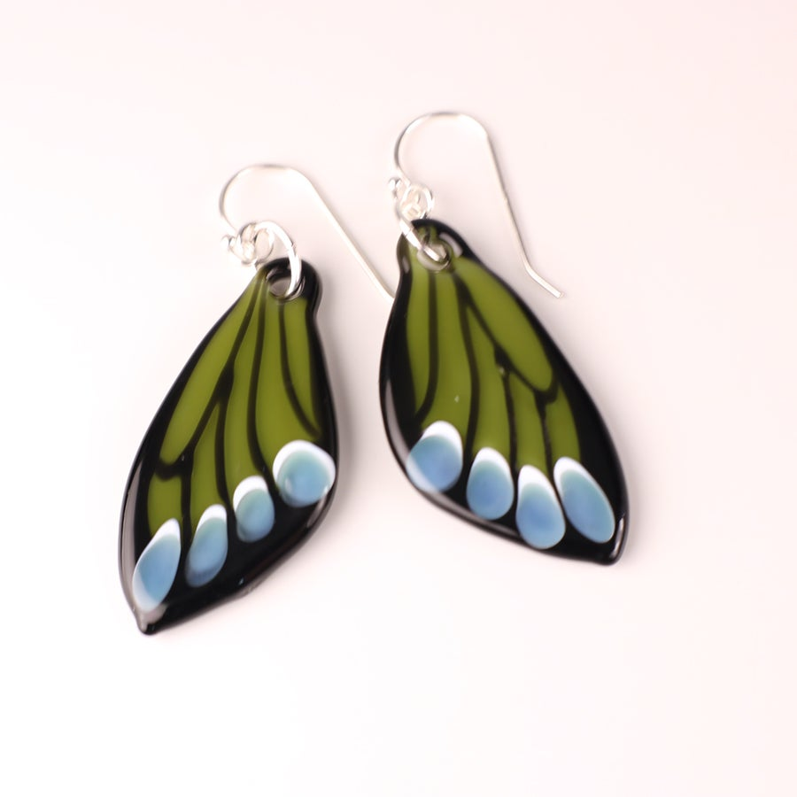 Green & Blue Butterfly Wing Earrings