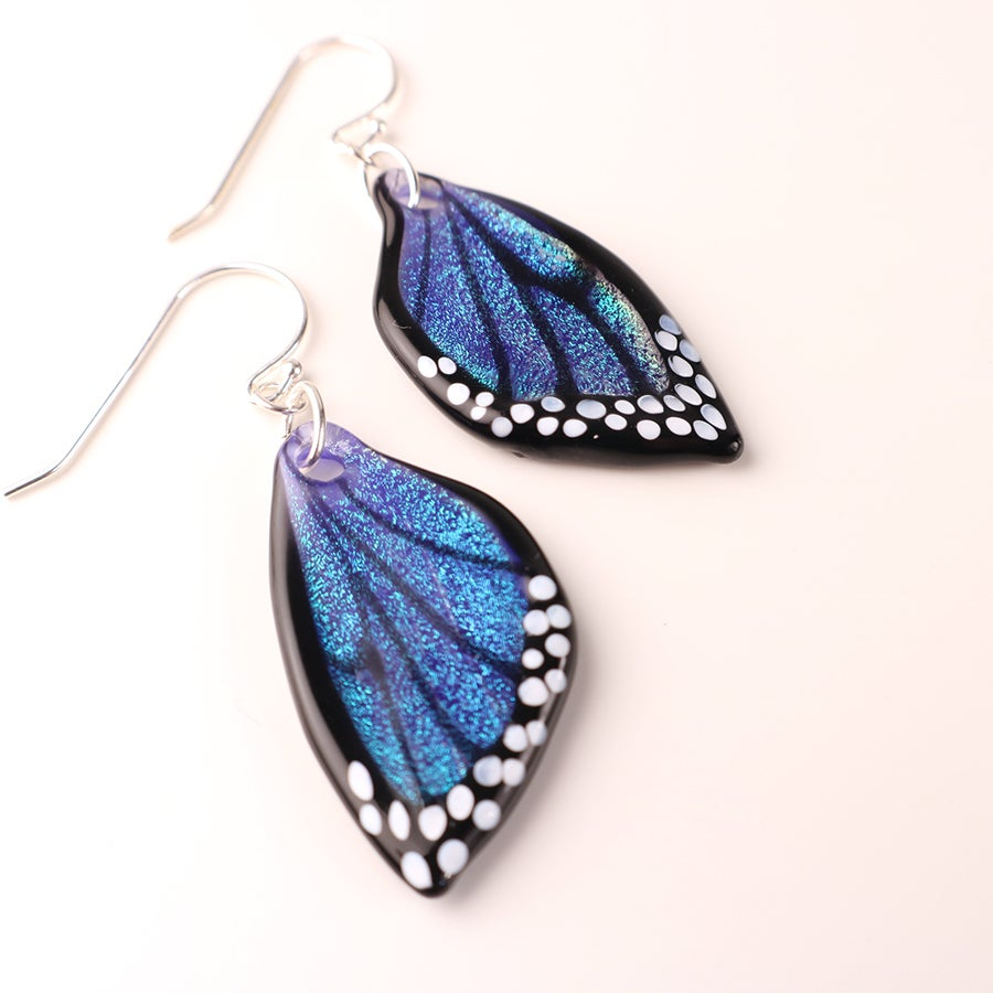 Iridescent Blue Dichroic Butterfly Wing Earrings