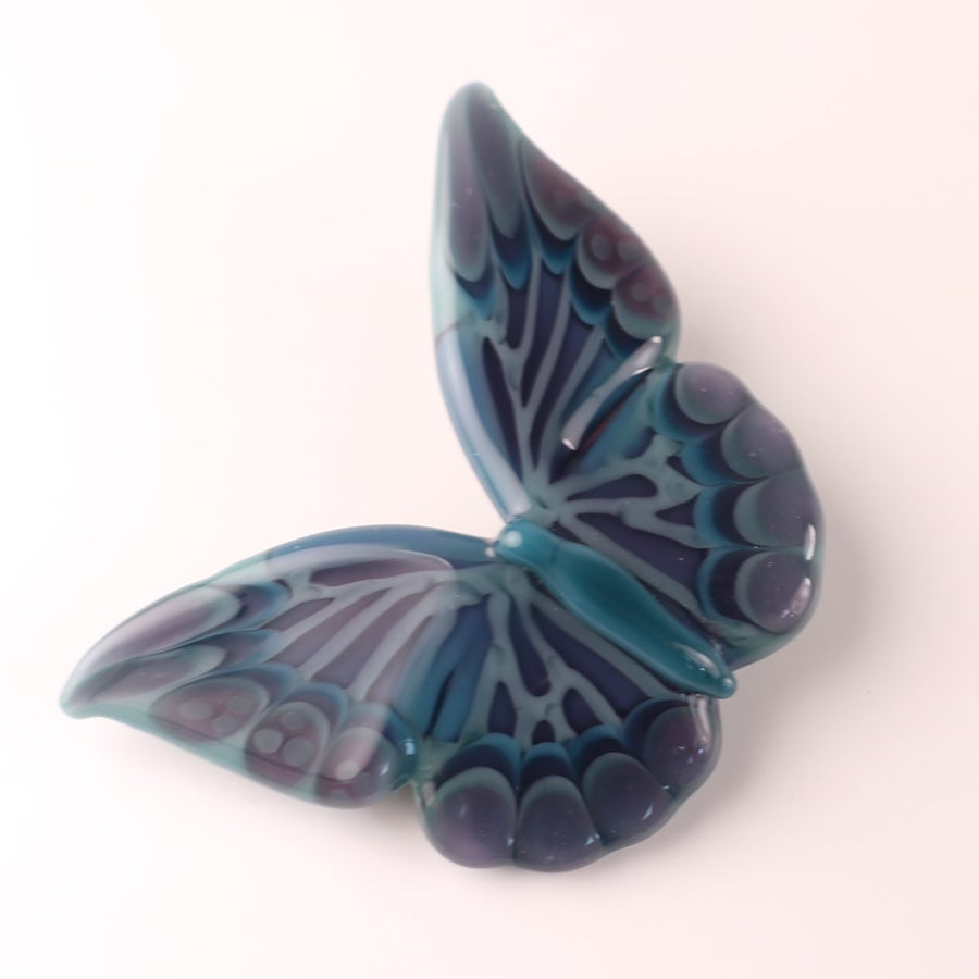 Soft Aqua & Purple Borosilicate Glass Butterfly Pendant