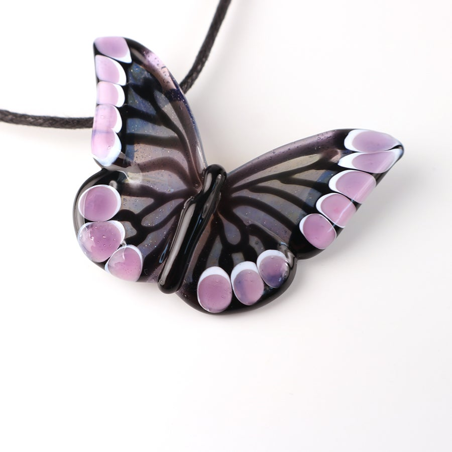 Grayed Blue and Purple Borosilicate Butterfly