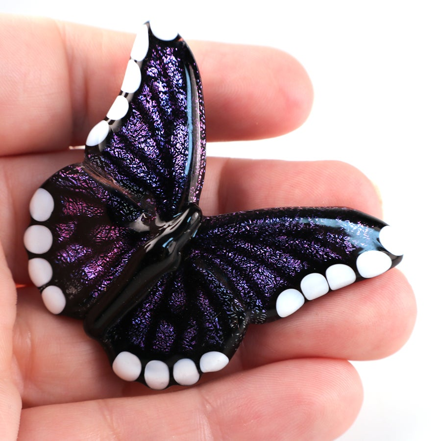 Purple & Pink Dichroic Butterfly Pendant