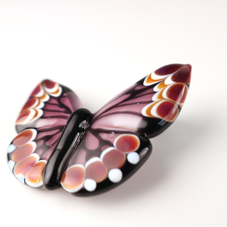 Magenta & Amber Butterfly Pendant