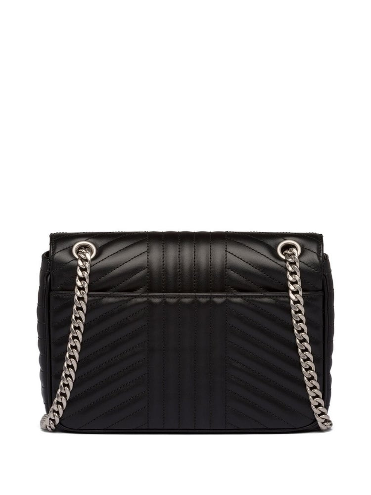 Image of Prada Diagramme Black Leather Shoulder Bag