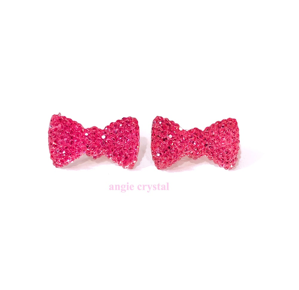 Image of Hot Pink Crystal Bow Earrings