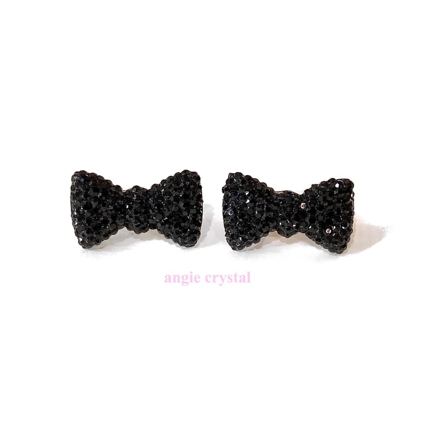 Image of Black Crystal Bow Earrings