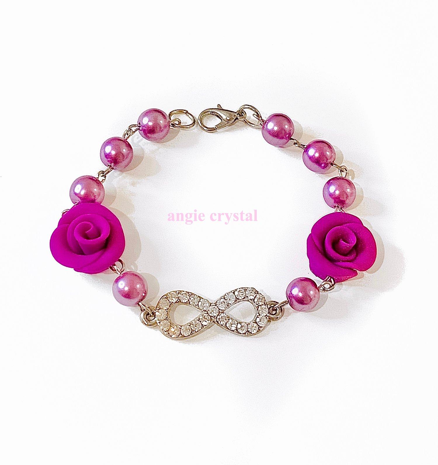 Image of Purple Crystal Infinity Bracelet