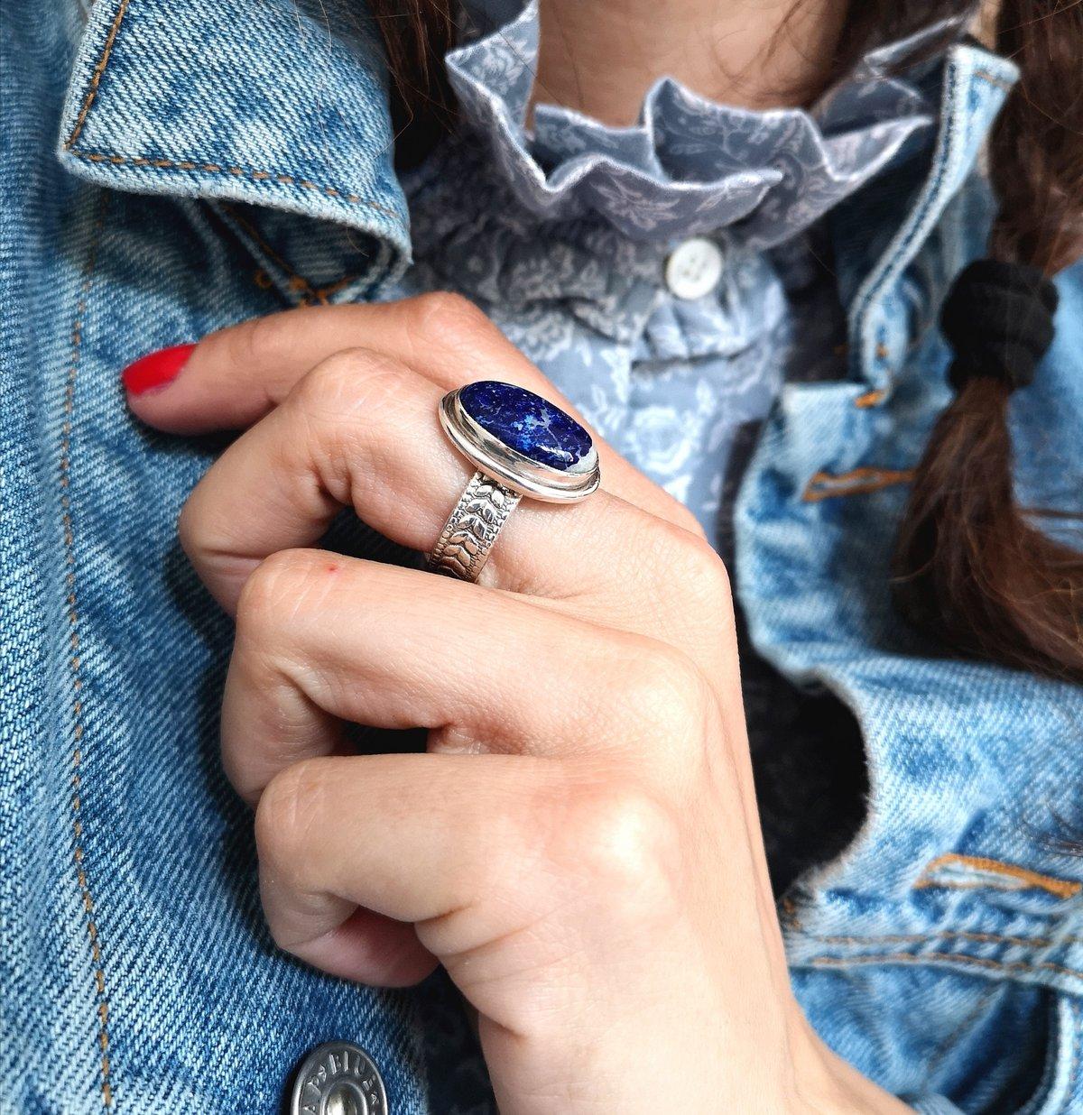 Image of Bague Lapis Lazuli taillée à la main - taille 59 -