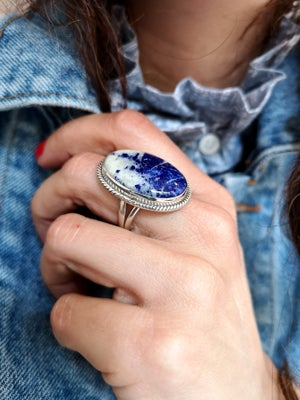Image of Bague Lapis Lazuli taillée à la main - taille 59 - ref. 4485