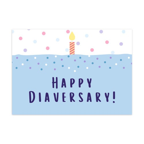 Image of Postcard Happy Diaversary Candle