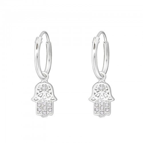 Image of Hamsa hand sleeper hoop earrings (sterling silver)