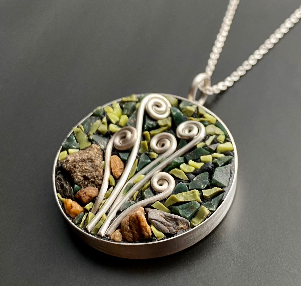 Image of Fiddleheads in the Forest Micro Mosaic Pendant