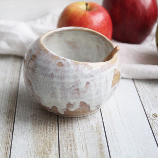 Image of Ceramic Salt Cellar in Rustic White and Ocher Dripping Glaze, Handcrafted Made in USA