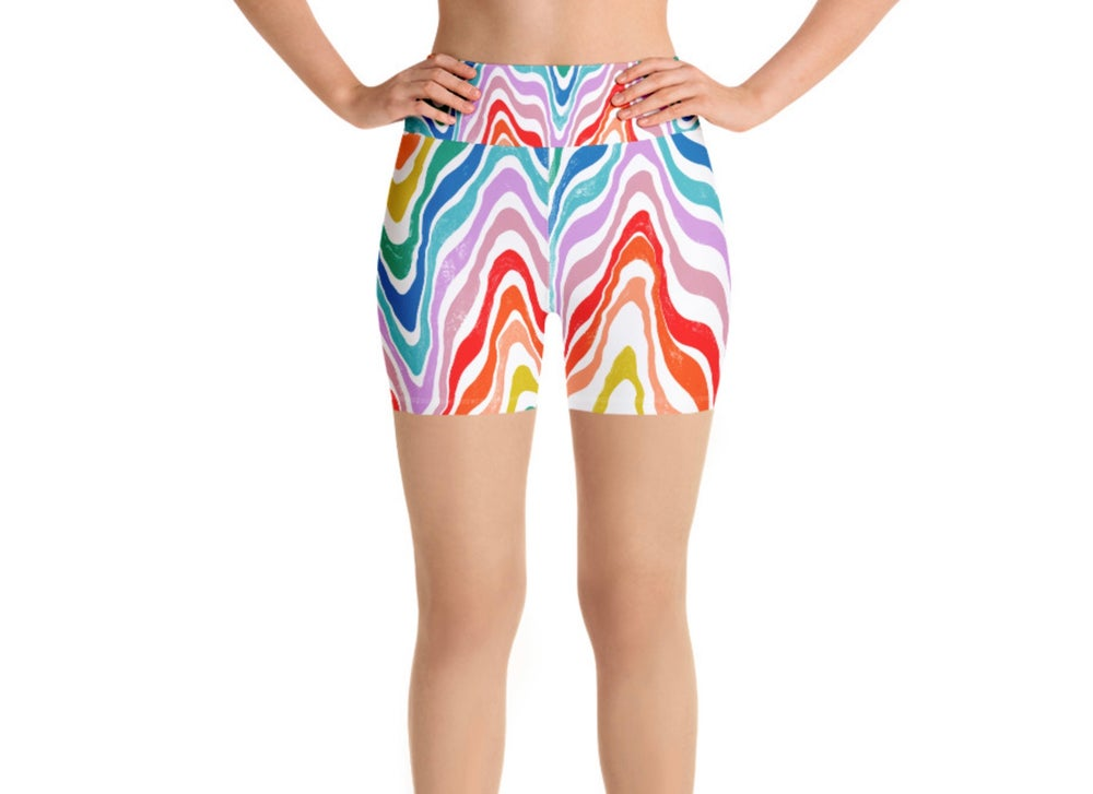 Image of Rainbow Road Trip Print Yoga Shorts