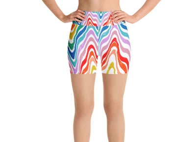 Image of Rainbow Road Trip Print Yoga Shorts