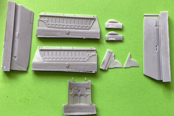 Image of Hawker Hunter Ailerons, Flaps, Airbrake and parts to convert Mk.6 Airfix to Mk.9