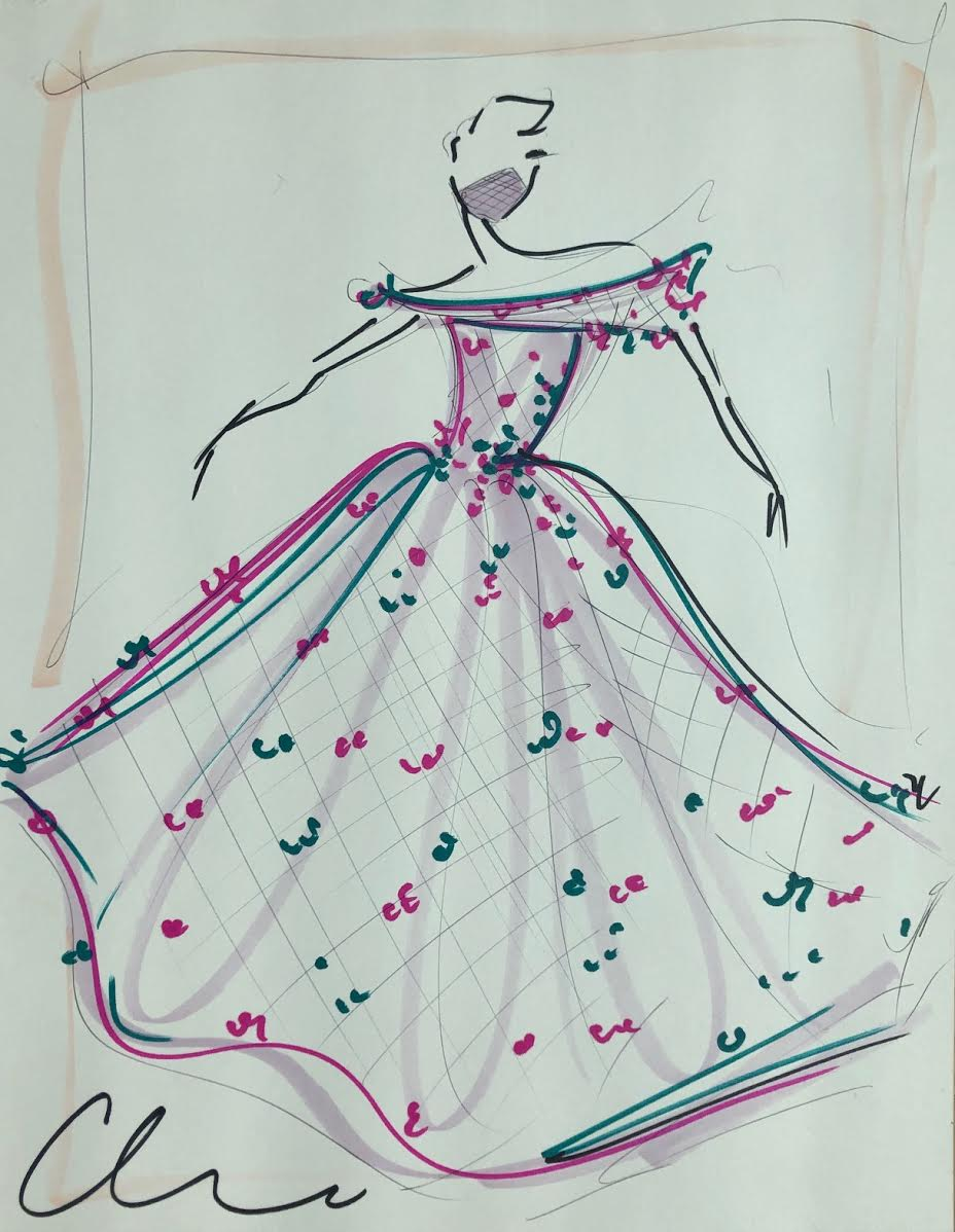 """Image of """"Raspberry Teal Applique Gown"""" - Original Sketch"""