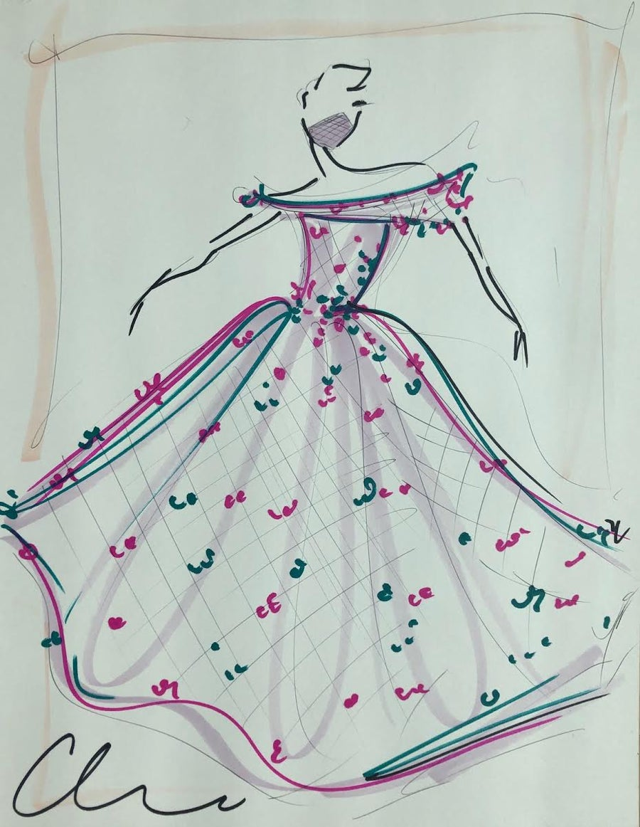 "Image of ""Raspberry Teal Applique Gown"" - Original Sketch"