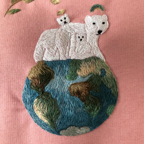 Image of Angels on Earth, original hand embroidery on organic cotton sweatshirt, size Medium, one of a kind