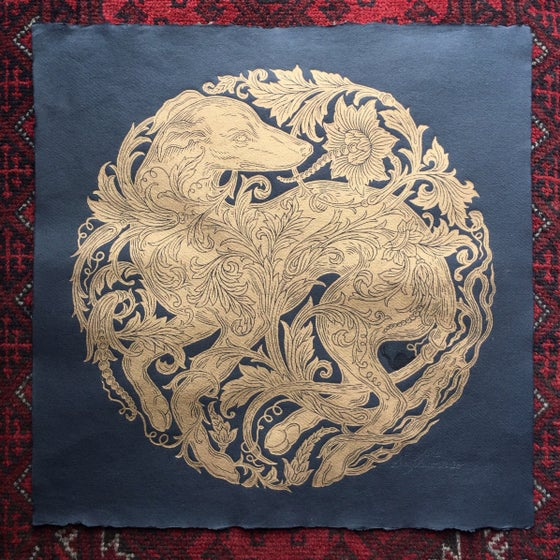 Image of 'Grighund' Gold On Black - Original Woodblock Print