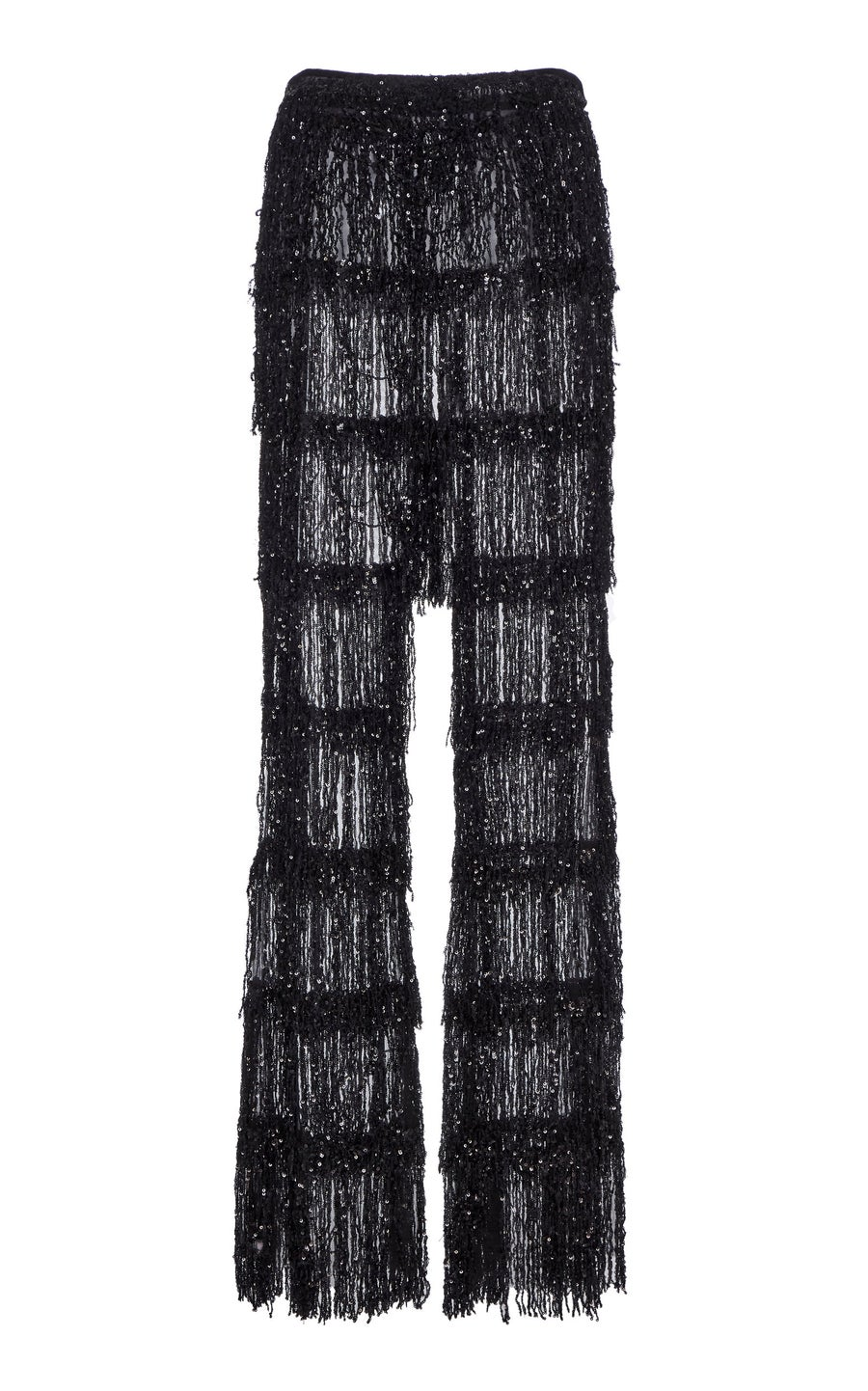Image of Black Sequin Fringe Flare Trouser