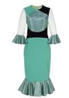 Colorblock Flounce Sleeve and Hem Dress