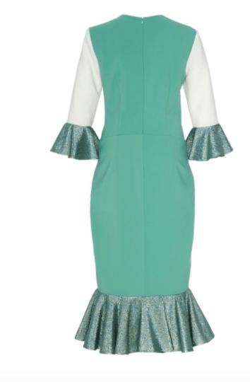 Image of Colorblock Flounce Sleeve and Hem Dress
