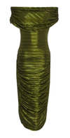 Verdant Green Pleated Off-the-Shoulder Side Ruche Dress