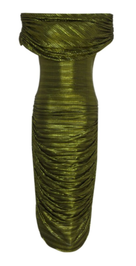 Image of Verdant Green Pleated Off-the-Shoulder Side Ruche Dress