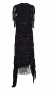 Black Short Sleeve Sequin Fringe Asymmetrical Hem Dress