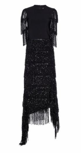 Image of Black Short Sleeve Sequin Fringe Asymmetrical Hem Dress