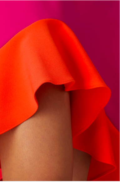 Image of Colorblock Ruffle Asymmetrical Hem Dress