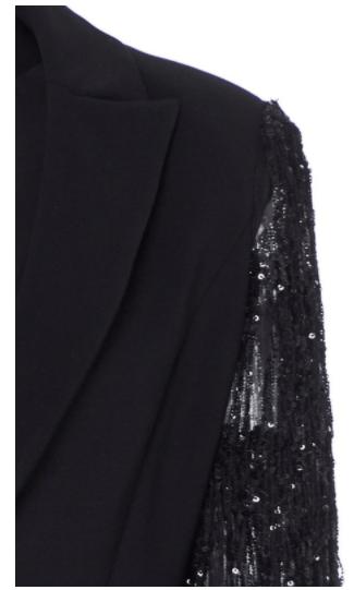Image of Black Sequin Fringe Detail Single Button Blazer