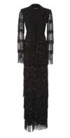 Black Sequin Fringe Tuxedo Gown