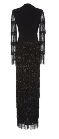 Image of Black Sequin Fringe Tuxedo Gown