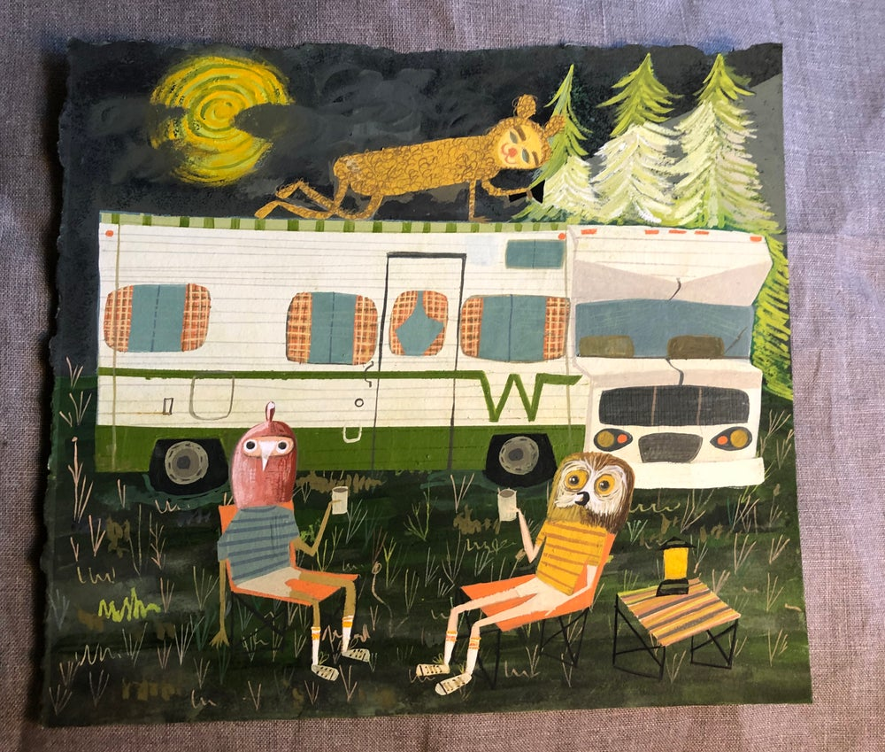 Image of Life after quarantine. Original gouache painting.